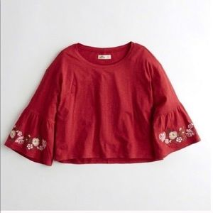 HOLLISTER • embroidered bell sleeve t shirt
